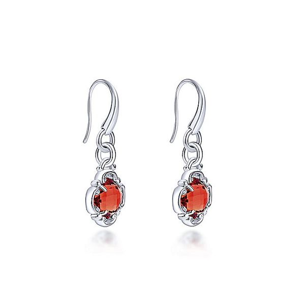 Gabriel & Co Sterling Silver Garnet Clover Drop Earrings Image 2 David Scott Fine Jewelry Panama City Beach, FL