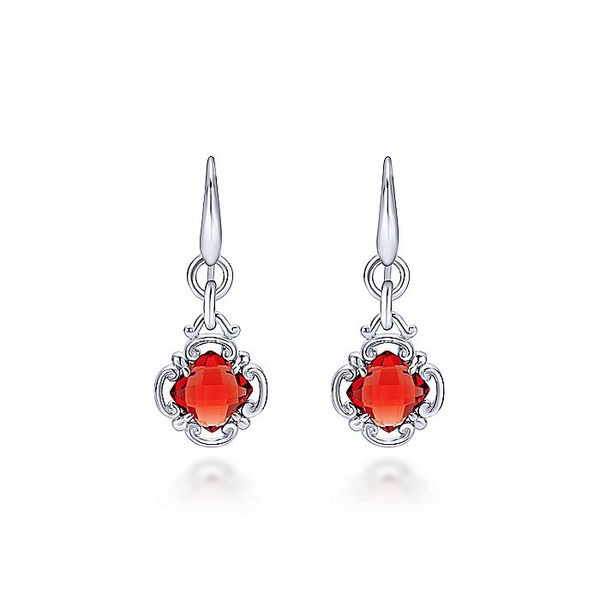Gabriel & Co Sterling Silver Garnet Clover Drop Earrings David Scott Fine Jewelry Panama City Beach, FL