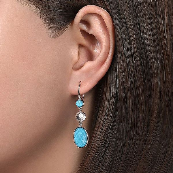Gabriel & Co Silver Turquoise Double Dangle Earrings Image 2 David Scott Fine Jewelry Panama City Beach, FL