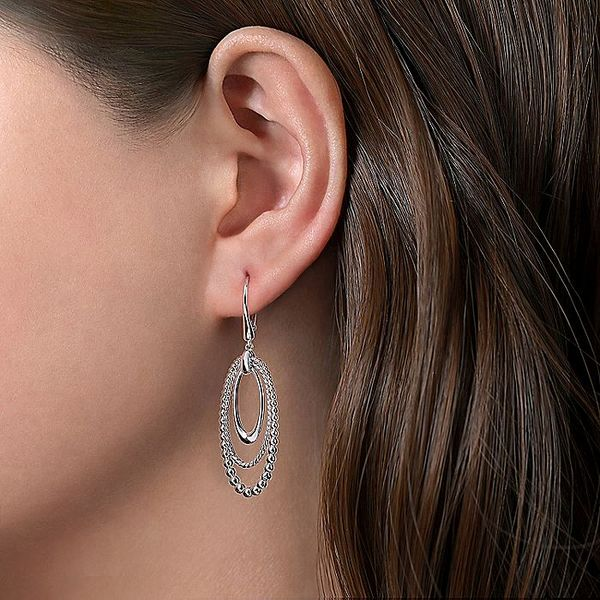 Gabriel & Co Sterling Silver Leverback Oval Drop Earrings Image 2 David Scott Fine Jewelry Panama City Beach, FL