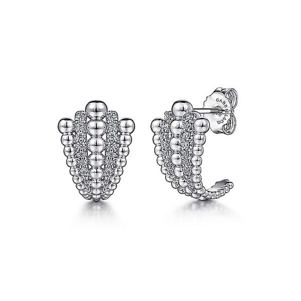 Gabriel & Co Sterling Silver White Sapphire And Beaded J Stud Earrings David Scott Fine Jewelry Panama City Beach, FL