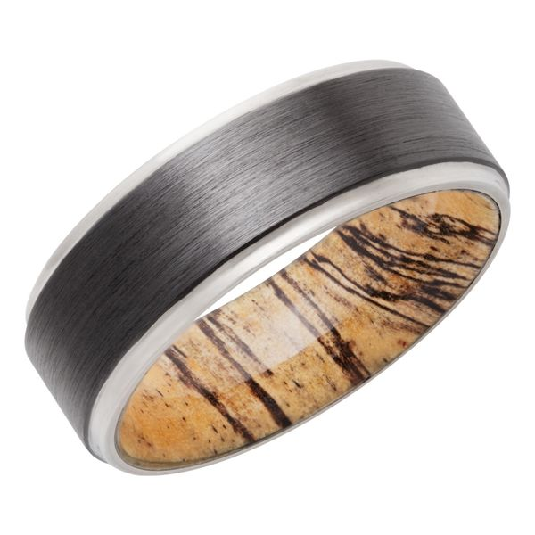 Lashbrook Zirconium & Spalted Tamarind Hardwood Sleeve Band David Scott Fine Jewelry Panama City Beach, FL