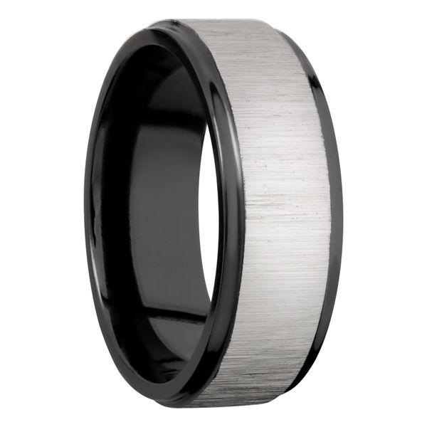 Lashbrook Black Zirconium 8mm Flat Band With A Center Cross Satin Silver Image 2 David Scott Fine Jewelry Panama City Beach, FL