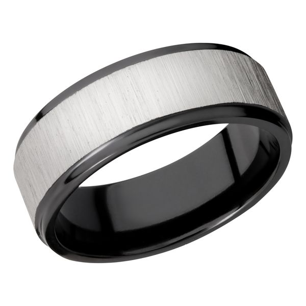 Lashbrook Black Zirconium 8mm Flat Band With A Center Cross Satin Silver David Scott Fine Jewelry Panama City Beach, FL