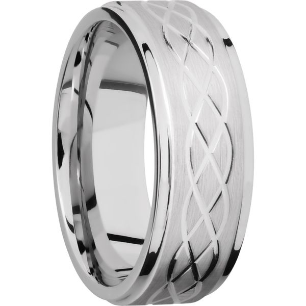 Lashbrook Cobalt Celtic Pattern Wedding Band Image 2 David Scott Fine Jewelry Panama City Beach, FL