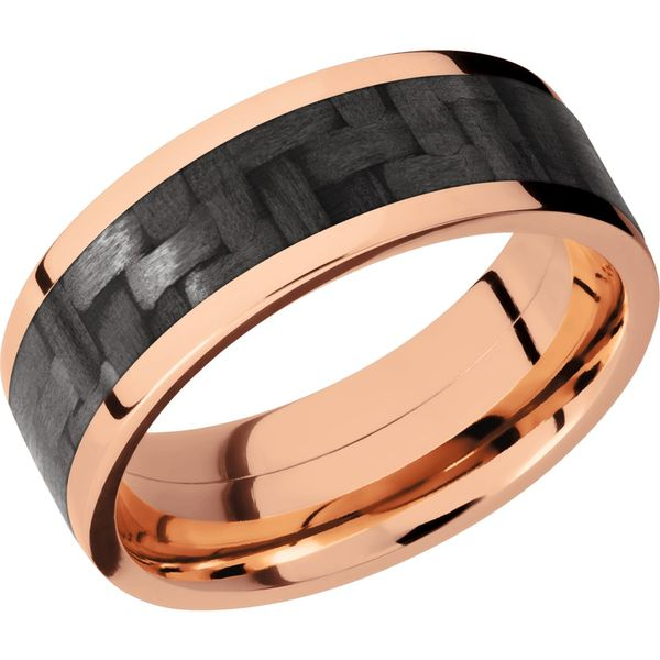Lashbrook Rose Gold & Carbon Fiber Wedding Band David Scott Fine Jewelry Panama City Beach, FL
