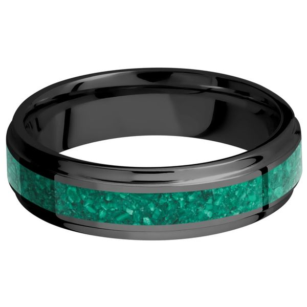 Lashbrook Zirconium & Malachite Wedding Band Image 3 David Scott Fine Jewelry Panama City Beach, FL