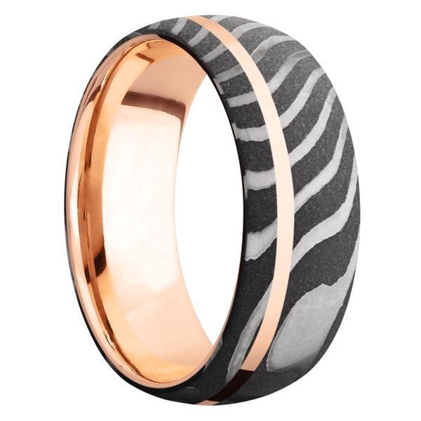 Lashbrook Tiger Damascus Band With Rose Gold Inlay & Sleeve Image 2 David Scott Fine Jewelry Panama City Beach, FL