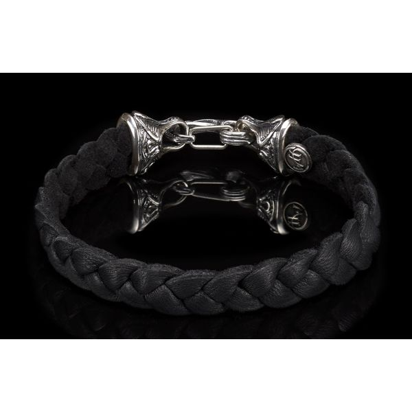 William Henry 'Hunter' Braided Black Deer Skin Bracelet Image 3 David Scott Fine Jewelry Panama City Beach, FL
