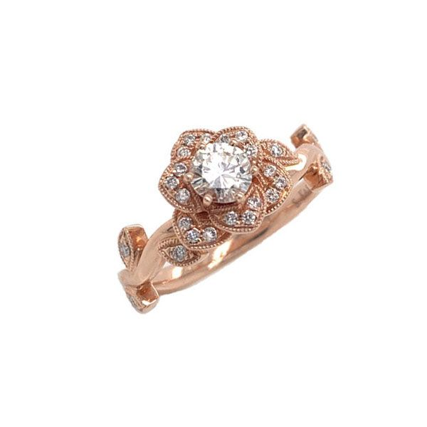 14k Rose Gold Diamond Engagement Ring Dickinson Jewelers Dunkirk, MD