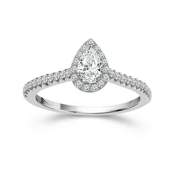 14k White Gold Pear Diamond Halo Engagement Ring Dickinson Jewelers Dunkirk, MD