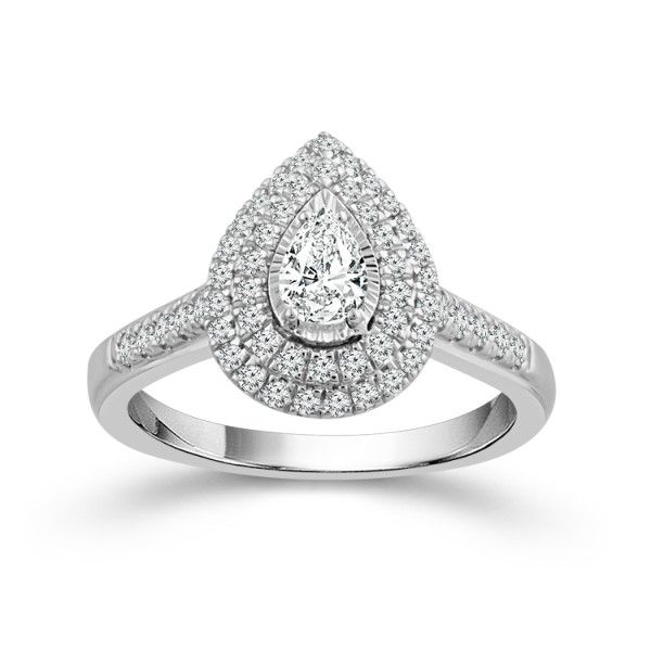 14k White Gold Pear Diamond Double Halo Engagement Ring Dickinson Jewelers Dunkirk, MD