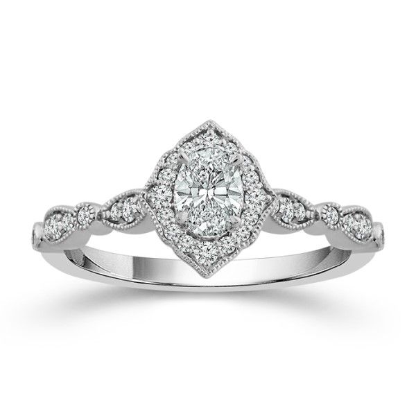 14k White Gold Oval Diamond Fancy Halo Engagement Ring Dickinson Jewelers Dunkirk, MD