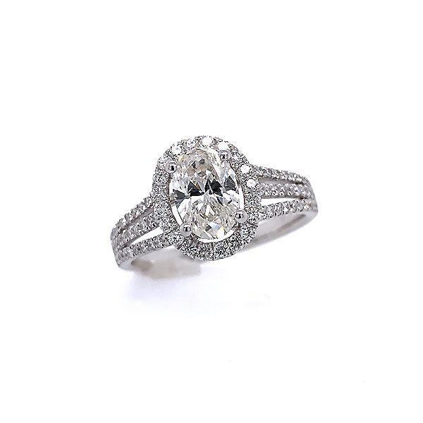 14k White Gold Diamond Halo Engagement Ring Dickinson Jewelers Dunkirk, MD