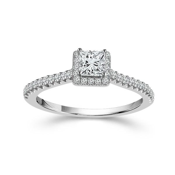 14k White Gold Princess Cut Diamond Halo Engagement Ring Dickinson Jewelers Dunkirk, MD