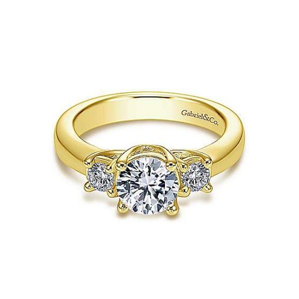 14k Yellow Gold Three Stone Diamond Engagement Ring Mounting Dickinson Jewelers Dunkirk, MD