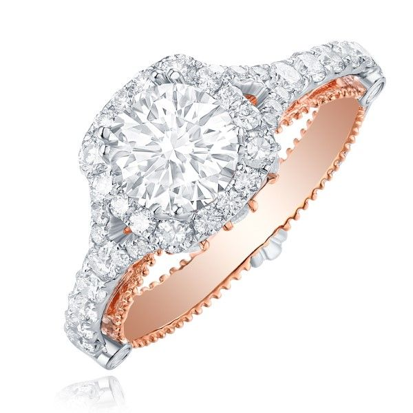 14k White-Rose Gold Diamond Halo Engagement Ring Mounting Dickinson Jewelers Dunkirk, MD