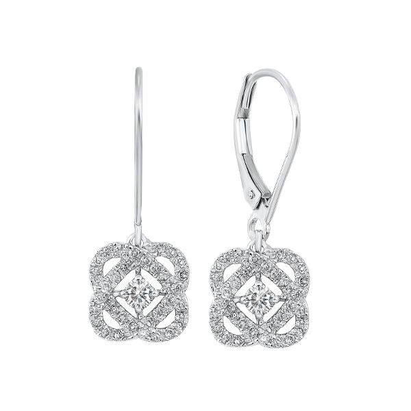 14k White Gold Love's Crossing Diamond Earrings Dickinson Jewelers Dunkirk, MD
