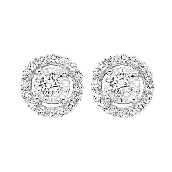14k White Gold Tru Reflection Diamond Halo Earrings Dickinson Jewelers Dunkirk, MD