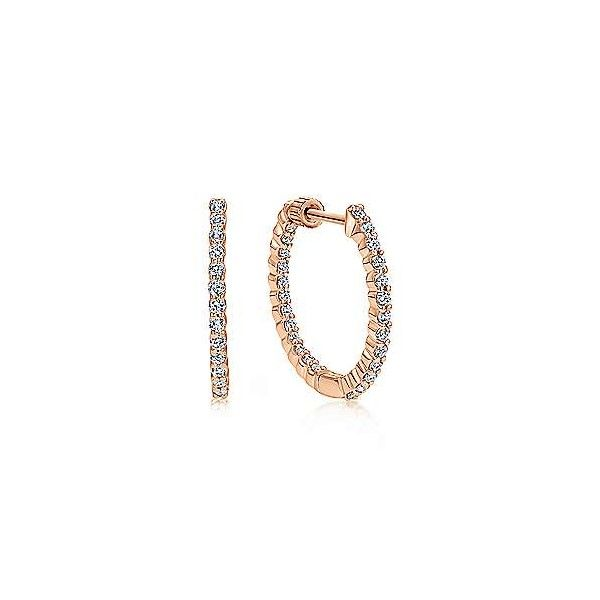 14k Rose Gold Diamond Hoop Earrings Dickinson Jewelers Dunkirk, MD