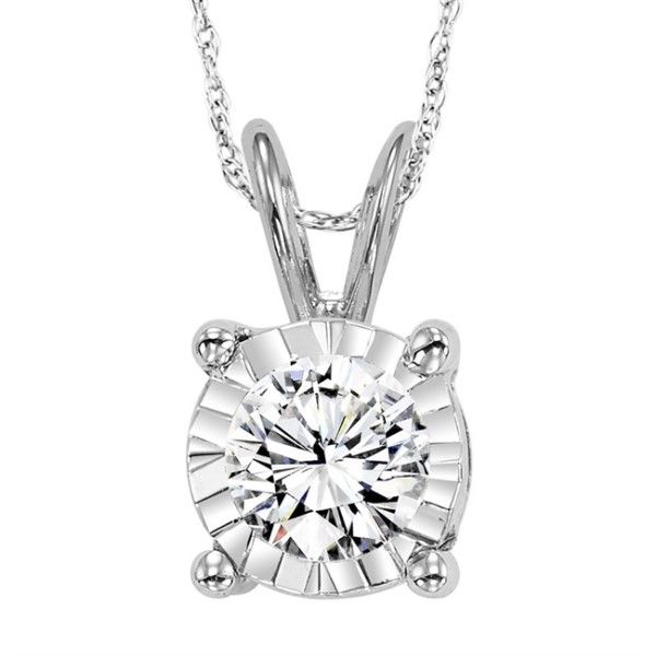 14k White Gold Diamond Solitaire Necklace Dickinson Jewelers Dunkirk, MD