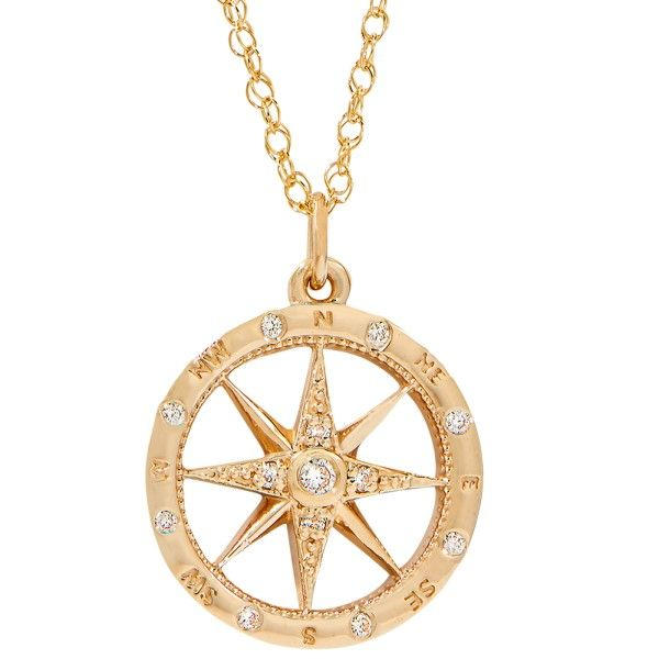 14k Yellow Gold Diamond Small Compass Rose Dickinson Jewelers Dunkirk, MD