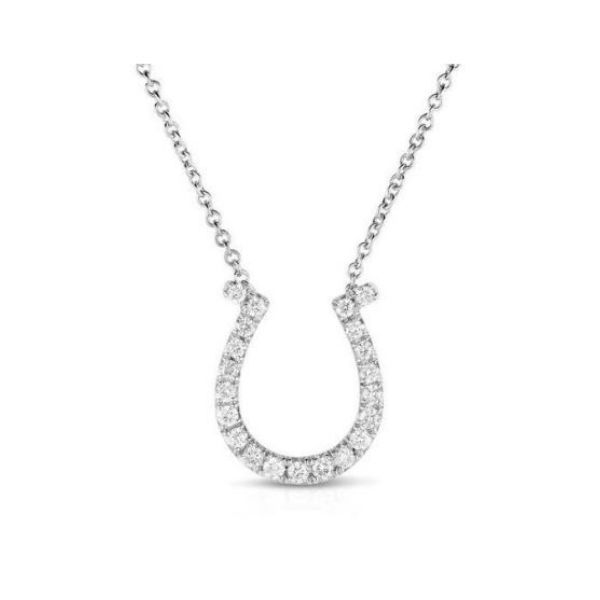 14k White Gold Diamond Horseshoe Necklace Dickinson Jewelers Dunkirk, MD