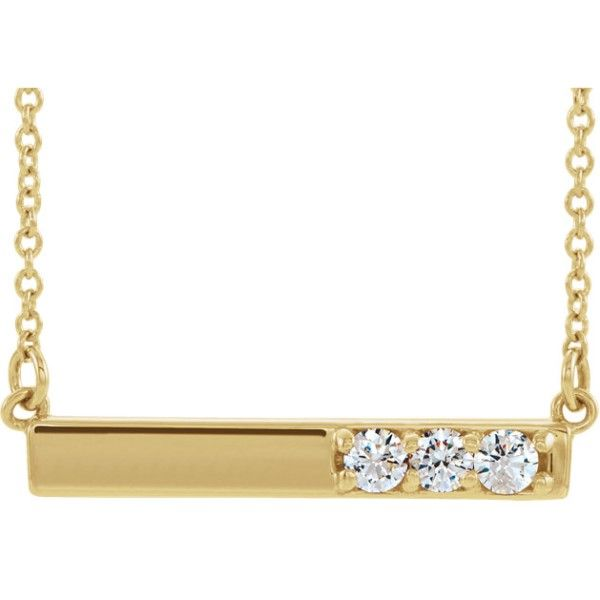 14k Yellow Gold Diamond Bar Necklace Dickinson Jewelers Dunkirk, MD