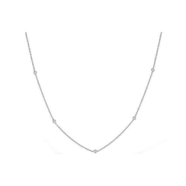 14k White Gold Diamond Station Necklace Dickinson Jewelers Dunkirk, MD