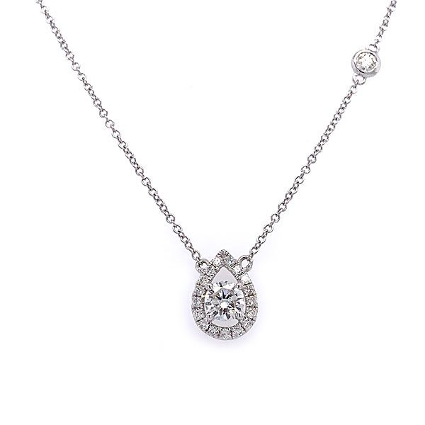 14k White Gold Diamond Halo Necklace Dickinson Jewelers Dunkirk, MD