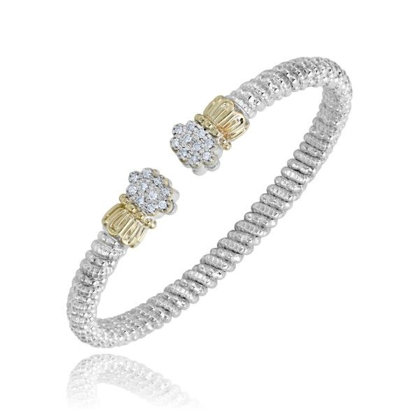 14k Yellow Gold And Sterling Silver Diamond Bracelet Dickinson Jewelers Dunkirk, MD