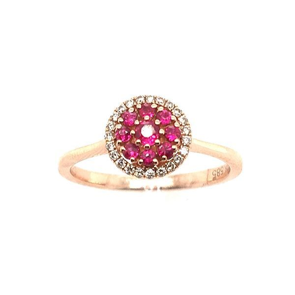 14k Rose Gold Ruby And Diamond Ring Dickinson Jewelers Dunkirk, MD