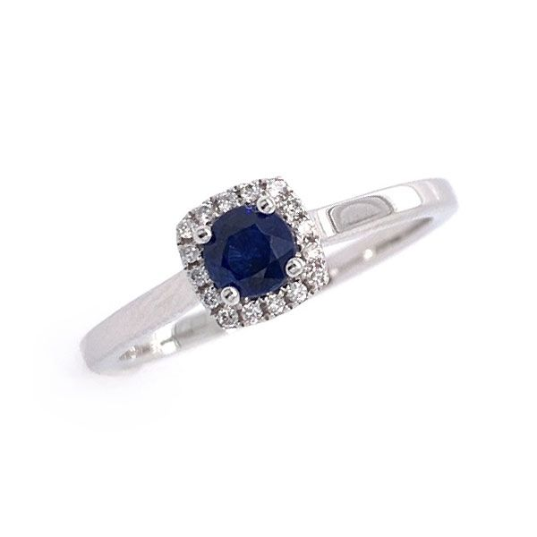 14k Gold Sapphire and Diamond Halo Ring Dickinson Jewelers Dunkirk, MD