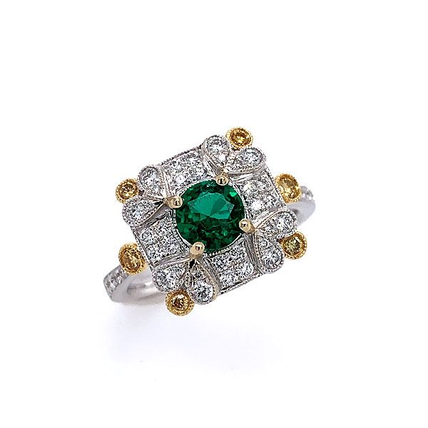 14k White-Yellow Gold Emerald Ring Dickinson Jewelers Dunkirk, MD