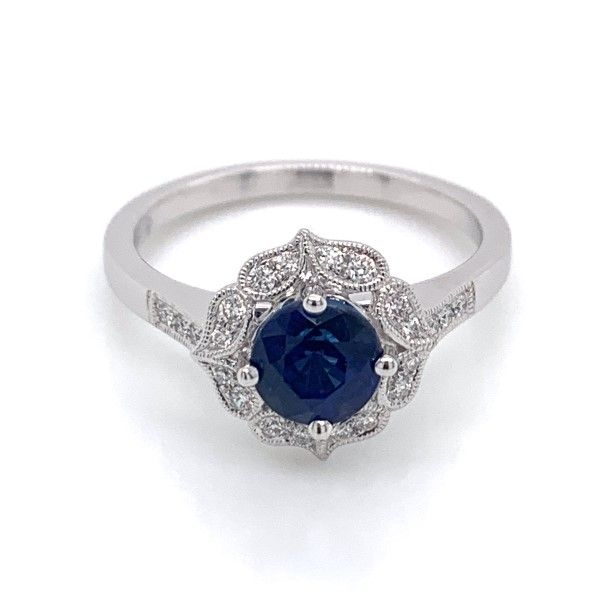 14k White Gold Sapphire Halo Ring Dickinson Jewelers Dunkirk, MD