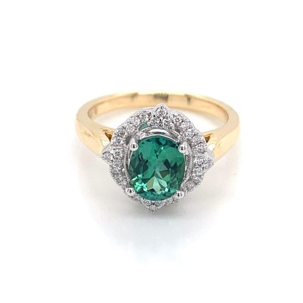 18k Yellow-White Gold Green Tourmaline Halo Ring Dickinson Jewelers Dunkirk, MD