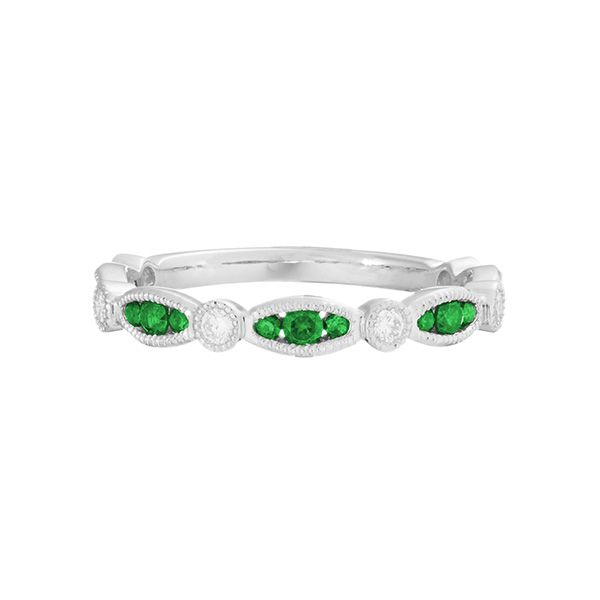 14k White Gold Emerald Band Dickinson Jewelers Dunkirk, MD
