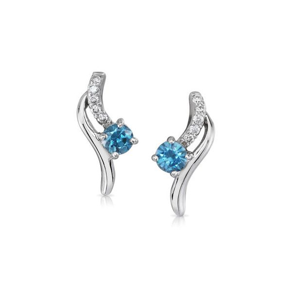 14k White Gold Blue Zircon Earrings Dickinson Jewelers Dunkirk, MD