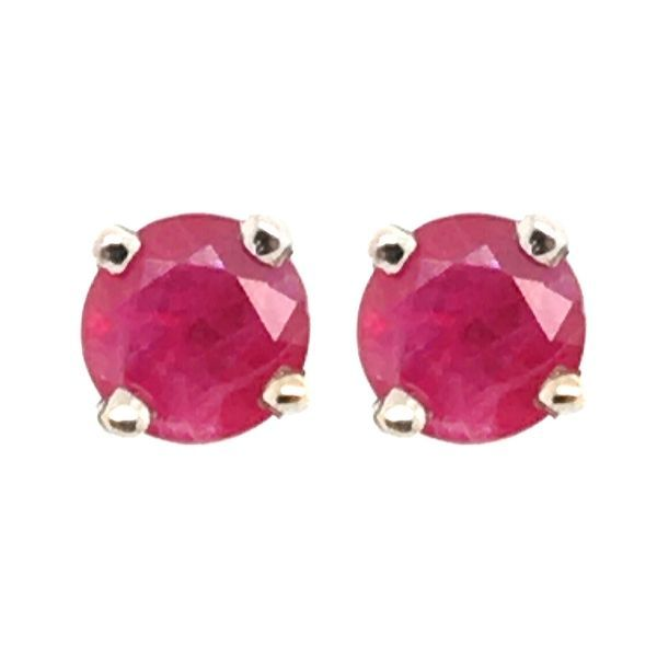 14k White Gold Ruby Stud Earrings Dickinson Jewelers Dunkirk, MD