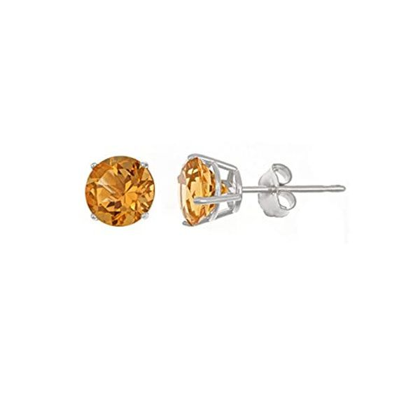 14k White Gold Citrine Stud Earrings Dickinson Jewelers Dunkirk, MD