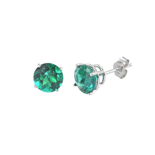 14k White Gold Emerald Stud Earrings Dickinson Jewelers Dunkirk, MD