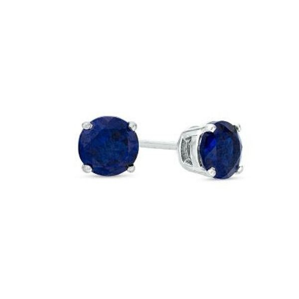 14k White Gold Lab-Created Sapphire Stud Earrings Dickinson Jewelers Dunkirk, MD