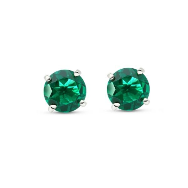 14k White Gold  Lab-Created Emerald Stud Earrings Dickinson Jewelers Dunkirk, MD