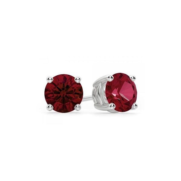 14k White Gold Lab-Created Ruby Stud Earrings Dickinson Jewelers Dunkirk, MD