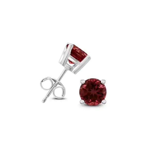 14k White Gold Garnet Stud Earrings Dickinson Jewelers Dunkirk, MD