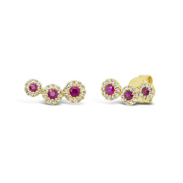 14k Yellow Gold Ruby Halo Post Earrings Dickinson Jewelers Dunkirk, MD
