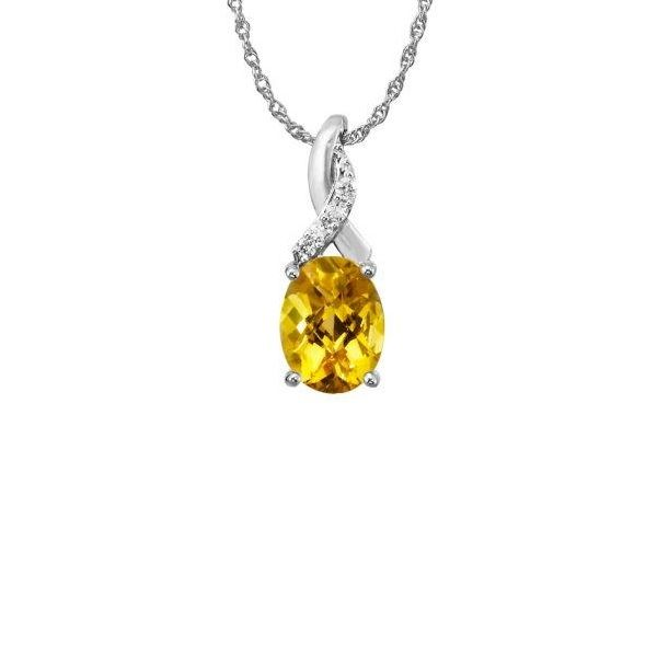 14k White Gold Citrine Pendant Dickinson Jewelers Dunkirk, MD