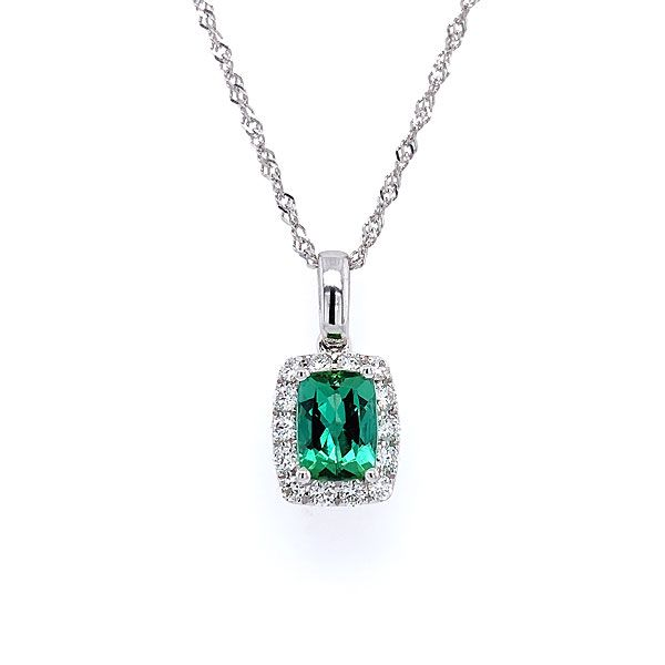 14k White Gold Green Tourmaline Halo Pendant Dickinson Jewelers Dunkirk, MD