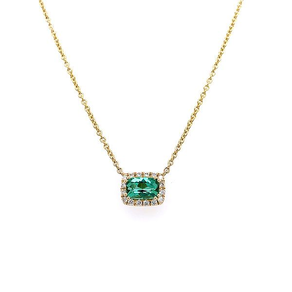 14k Yellow Gold Green Tourmaline Halo Necklace Dickinson Jewelers Dunkirk, MD