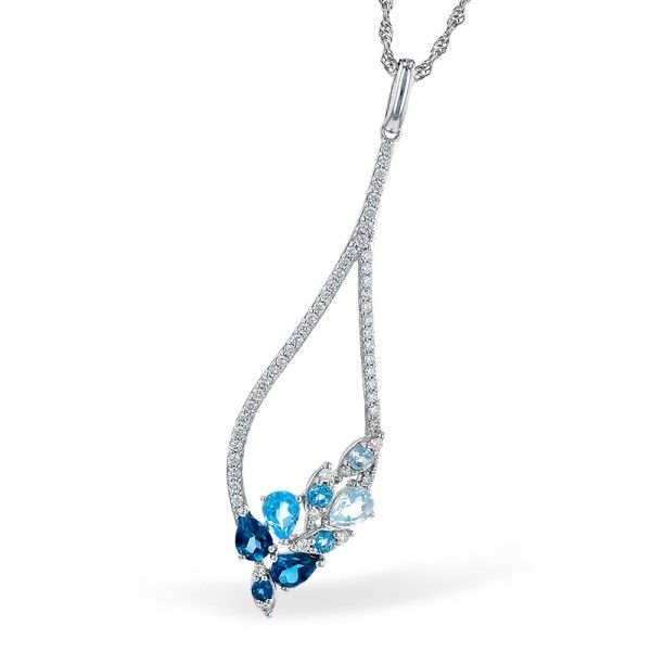 14k White Gold Blue Topaz Pendant Dickinson Jewelers Dunkirk, MD